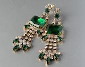 Vintage Emerald Rhinestone Czech Glass Earrings Pierced Gablonz