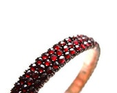 Austro Hungarian Bohemian Garnet Bracelet Antique Garnets Rose Cut Bangle Dollz