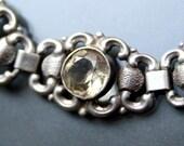 ART NOUVEAU Citrine Repoussed Bracelet. Solid silver 835. Spring