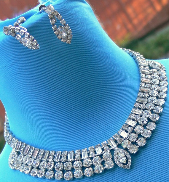 Big Rhinestone Necklace and Earrings signed