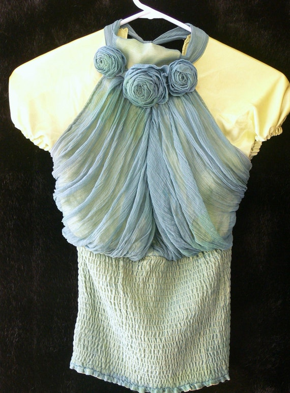 Hand dyed tube top with swag fabric size small