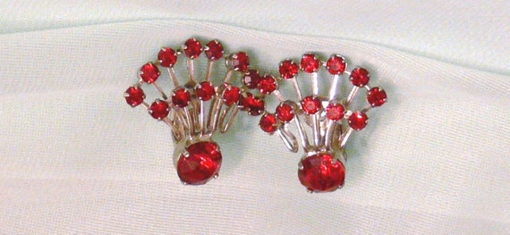 Bright Red Glass clip Earrings