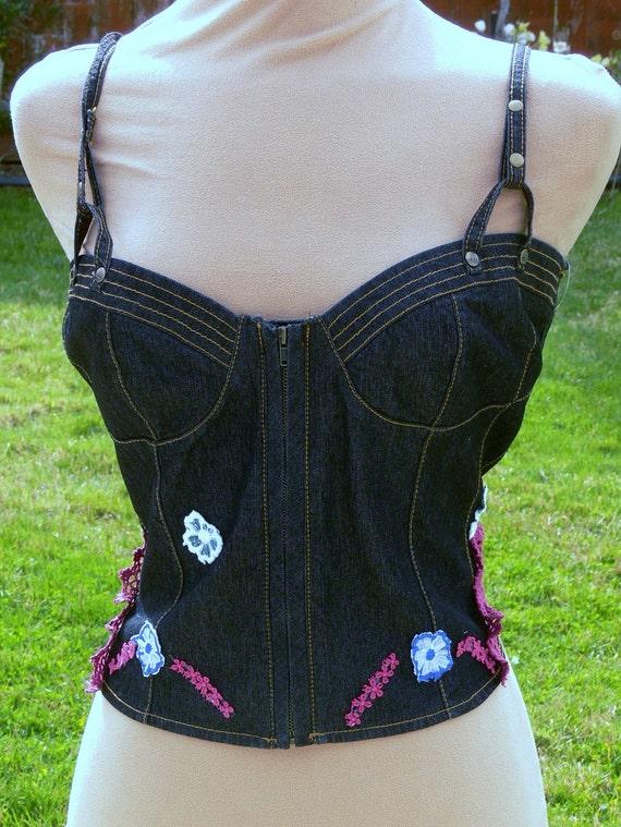 hold  Blue Jean corset top plus size 16