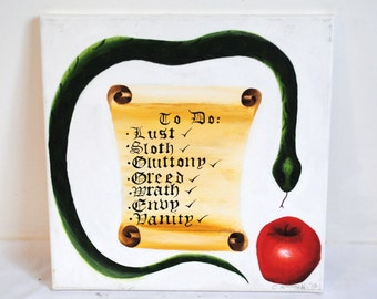 Seven Deadly Sins, original acrylic painting, 40x40cm canvas, snake and apple, parchment scroll, religion