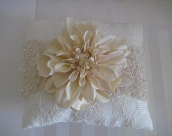 Cream and White Lace Ring Pillow