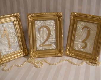 Gold Wedding Table Numbers: Ornate frames-Custom to your ...