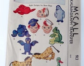 Vintage McCalls Kaumagraph Toy Bean Bag Transfer Sewing Pattern
