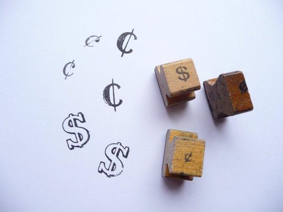 Dollars & Cents....Vintage Wooden Rubber Stamps