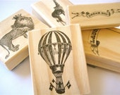 Reserved for Pat: Circus Zoo Stamps, Vintage Carnival Theme, Set of 5 Rubber Stamps with a Hot Air Balloon, a Lion, and a Giraffe