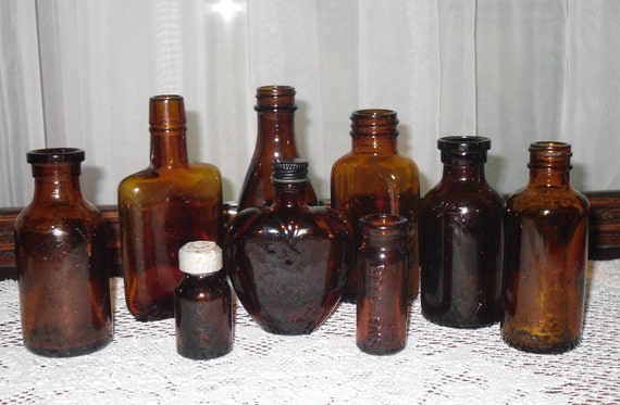 Instant Collection Of 9 Vintage Brown Glass Bottles 1 Heart Shaped