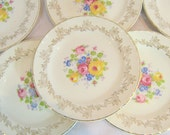 Roses and Gold and China Crooksvile Ornate Dessert Plates Ladies Lunch Weddings Engagment Parties English Garden Shabby Chic