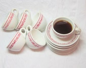 Mid Century Restaurantware Red Pink Flower Rim White  Buffalo China Cups Saucers Kitchen Housewares Simple Classic Durable Cottage