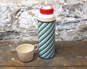 On Sale Mid Century  Industrial Thermos Robins Egg Blue Black Barber Pole Lunch on the Go School Snack Retro Lunch Working Man