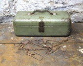 Romance Sale Vintage Tackle Tool Box  Metal box Storage Decor Industrial Rustic Gift for Him