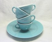 Custom Listing for Mallory  Mid Century Aqua Turquoise Shanago Restaurantware China Tea Coffee Cups Mix Match Durable Collectable