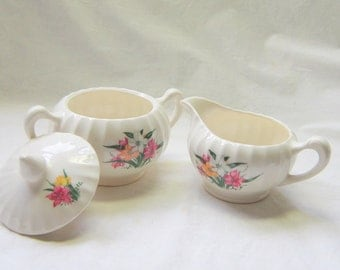 Sugar Creamer Set Vintage China Serving Dinnerware Cottage English Wedding Garden Party Gift for Her Decor
