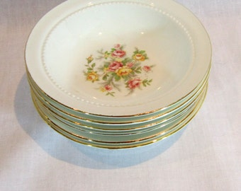 Vintage Bowls Small Floral Bowls 6 Matching Floral Bowls Green Pink Rose China 22KT Gold Bowls Mix Match Floral Dinnerware NOS China Bowls