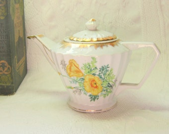 Vintage Napco Tea Pot Yellow Floral Teapot 4 Cup Fluted White With Yellow Roses And Gold Rim Handled Teapot
