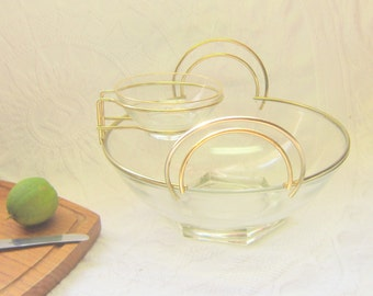 Mid Century  Gold Chrome Clear Glass Chip Dip Set Streamline Art Deco Lines  Parties Weddings Entertaining