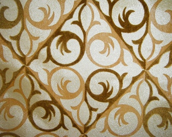 Vintage Drapes Curtains Midcentury Decor Window Curtains Flocked Brown Drapes  Gold  Diamond Scroll Patterned Curtain Drapes