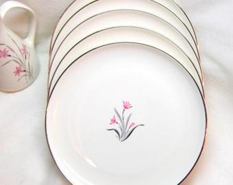 Midcentury Syracuse China Plates Pink Silver Flowered Dessert Plates NOS Alpine Patterned Salad Plates Syracuse China Pink Silver Dinnerware