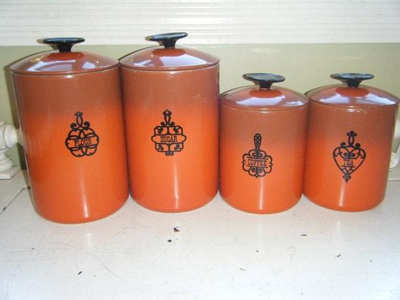 Retro orange 4 piece metal kitchen set great color great for Kitchen set orange