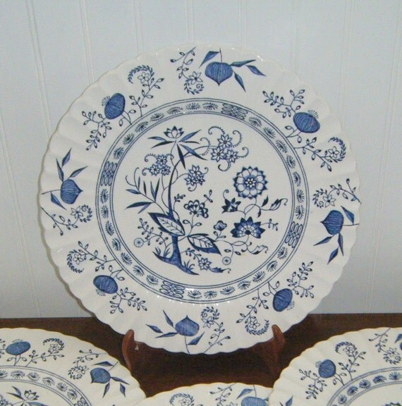 Vintage J G Meakin Blue Nordic English Staffordshire Plates Blue Onion Blue Nordic
