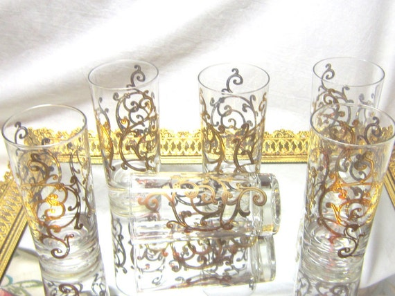 Mid Century Gold Scroll Glasses Barware Tumblers Hollywood Regency Highball Cocktail Glasses Barware Gift for Him Mad Men