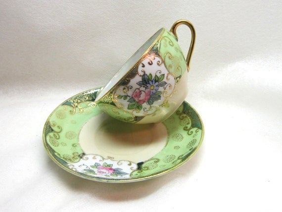 Reserved for Allegra Do not buy unless Allegra 2  Moriyama Lusterware Teacup Saucer Green Pink Goldl