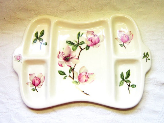 Vintage China  Tray Platter Plate Pink Brown Magnolia Flower Serving Tray Unique Relish Iva-Lure Gift for Her Kitchen