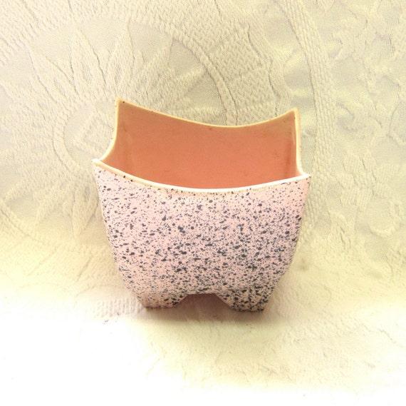 Mid Century Modern Art Pottery Pink Gray Splatter Planter Vase Bowl Gift for Her  Home Decor Office Crafts Powder Room Storage