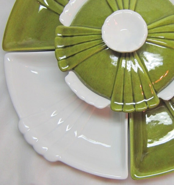 Mid Century Avocado Green White Lotus Flower Asian Influence Serving Set Covered Bowl Trays Modern Home Kitchen Decor Entertaining