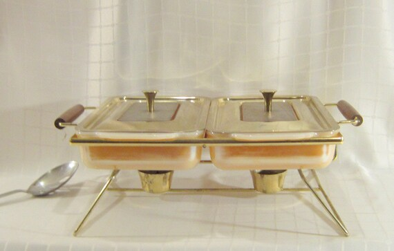 Mid Century Peach Luster Coco FireKing Chafing Dish Casserole Lid Bake Ware Housewares Cooking Party Pool Dinner Serving
