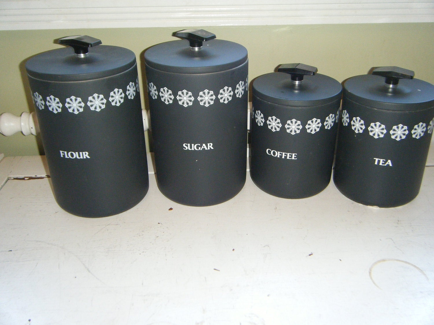 retro black miracle maid kitchen canister set by