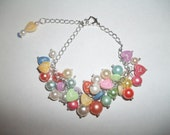 New Colorful Faux Pearls & Zodiac Hearts Charm Bracelet