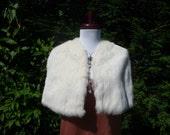 Vintage Ivory fur cape. Evening, wedding,bridesmaid,