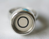 Silver ring set with vintage typewriter key