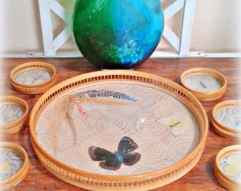 Butterflies Under Glass - Bamboo Tray Coaster Set - Mid Century