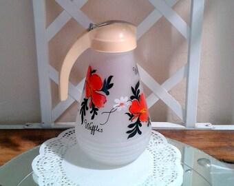 Vintage Syrup Pitcher / Dispenser - Hand Painted Floral Design