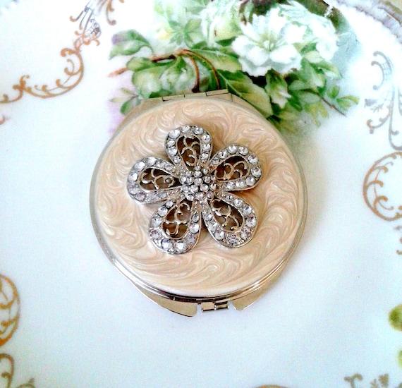 Vintage Double Mirror Compact Pearl Beige Pave Rhinestone Flower