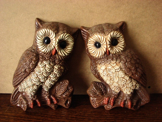 ON SALE - Pair of Adorable Owl Wall Hangings