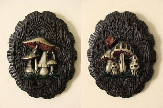RESERVED FOR Brittany Gale - Pair of Vintage Mushroom Wall Hangings - White, Orange, and Brown - Oval