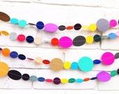 The Bella Garland, Paper Garland, Pink, Yellow Tan, Blue, Orange, Green, Multi colored, Birthday Decoration, Wedding Garland