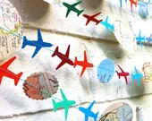 The Bon Voyage Air Plane Garland, Paper Garland, Blue, Orange, Green, Multi colored, Maps