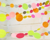 The Bella Garland, Paper Garland, Pink, Yellow, Gray, Orange, Lime Green, Multi colored, Birthday Decoration, Wedding Garland