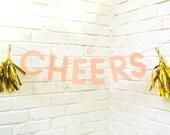 The Word Banner, Cheers, Paper Banner, Pink, Gold Tassels, Birthday Banner, Wedding Banner, Baby Shower