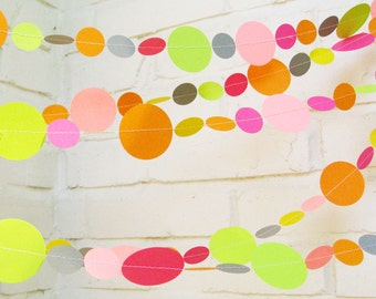 The Bella Garland, Paper Garland, Pink, Yellow, Gray, Orange, Lime Green, Multi colored, Birthday Decoration, Wedding Garland