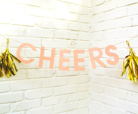 The Word Banner, Cheers, Paper Banner, Pink, Gold Tassels, Birthday Banner, Wedding Banner, Baby Shower