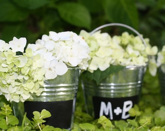 Rustic Wedding Chalkboard Pails, Table Numbers, Vases Rustic Shabby Chic Weddings, Set of 6