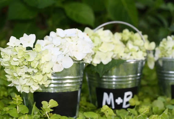 Chalkboard Table Number Wedding Pails Tins, Vases, Buckets, Rustic Wedding, Showers, Set Of 3